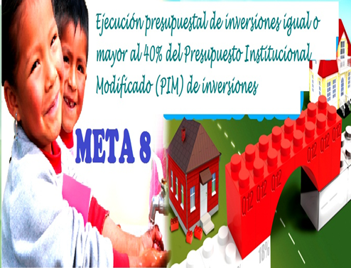 META 8 Ejecución presupuestal de inversiones igual o mayor al 40% del Presupuesto Institucional Modificado (PIM) de inversiones